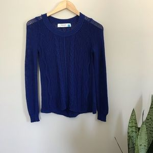 Sparrow Anthro Cable Knit Sweater Cobalt Blue S A3